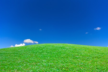 Green grass mountain clear sky view Stock Photo - 7347330