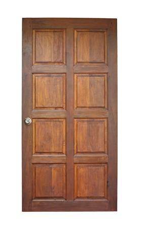 Wood door isolated on white
