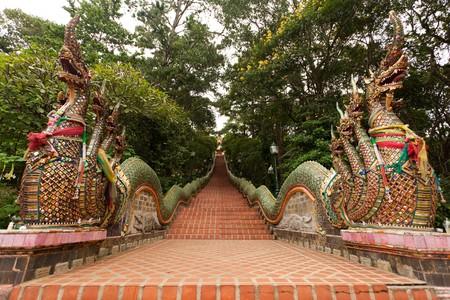 doi: Tailandese scalinata del tempio, Tempio di Doi Suthep, Chiangmai, Nord della Thailandia