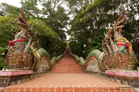 doi: Thai Temple Stairway, Doi Suthep Temple, Chiangmai, Northern of Thailand