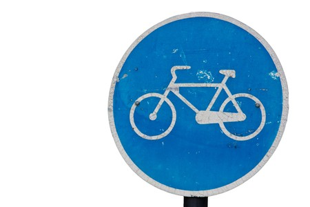 Bicycle Road Sign isolated on white photo
