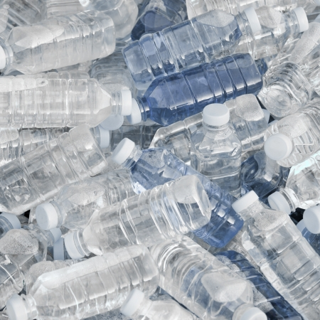 plastic recycling: Pile of fresh water bottles