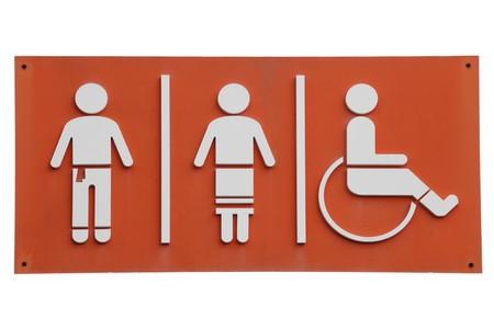 Public restroom sign white over orange isolated on white photo