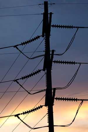 Electric Pole With Nice Twilight Sky Stock Photo - 8012562