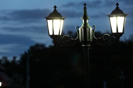 coziness: beautiful lamp light in the dark Stock Photo