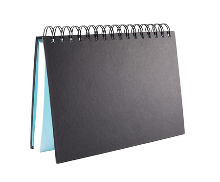 Black notebook place as desktop calendar with blank copy space photo