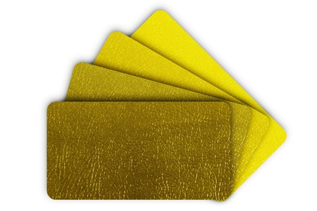 Yellow leather collection isolated on white background photo
