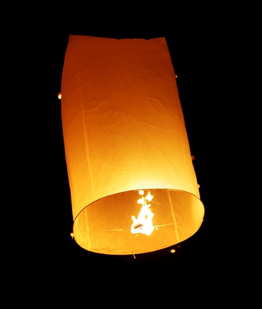 Floating Lantern Close Up View during Firework Festival in Thailand photo