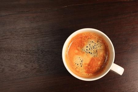 Koffie op hout bovenaanzicht Stockfoto