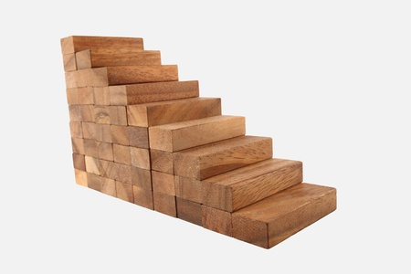 Wood Stair Steps To Success Isolated On White Stock Photo, Picture And  Royalty Free Image. Image 8386053.