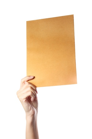 Hand Hold Brown Document Stock Photo - 8893873