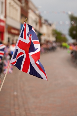 britain flag: United Kingdon Flag during Olympics Torch Reception in Stafford