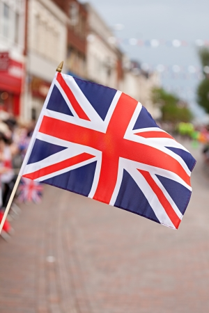 symbol british: United Kingdon Flag during sports competitions Torch Relay in Stafford Stock Photo