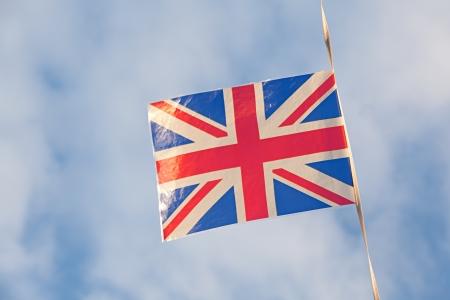 United Kingdom Flags over nice sky photo
