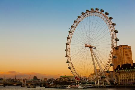 London Eye at Dusk Editorial
