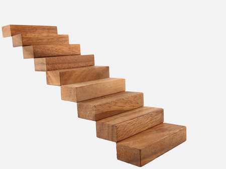 castle interior: Wood stairway isolated Stock Photo