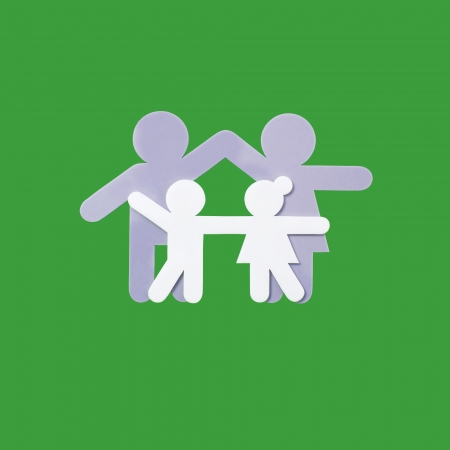 symbol of family on green background Stock Photo