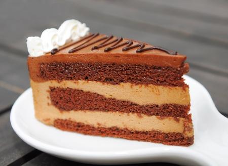 A piece of CHOCOLATE Cake sliced photo