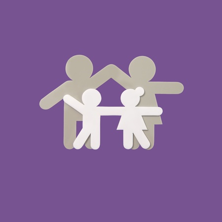 little boy and girl: symbol of family with purple background Stock Photo