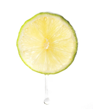 Lime with water drop isolated on white background Stock Photo