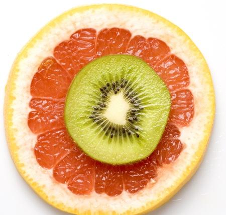 Red orange sliced and kiwi sliced Stock Photo