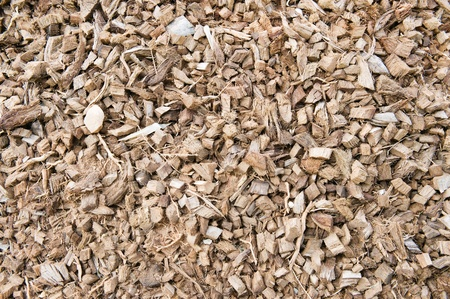 pileup: Wood chippings and coconut pieces texture Stock Photo