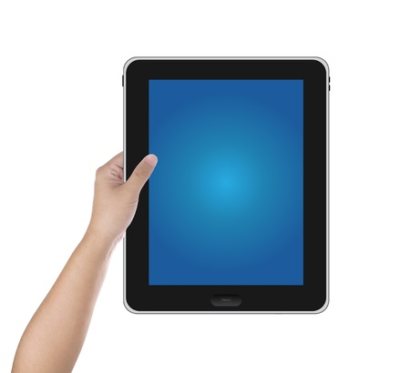 Hand hold digital tablet PC isolated on white background Stock Photo