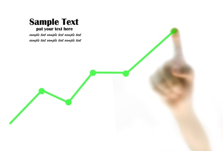 Finger pointing at the growth graph Stock Photo