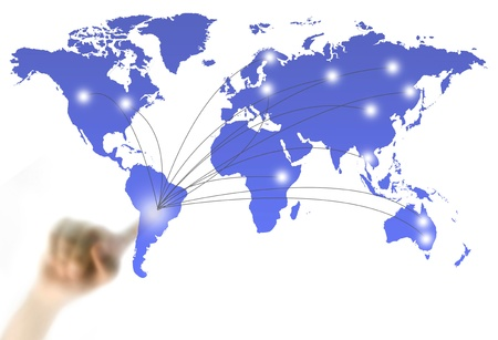 Finger pointing at South America area Stock Photo - 13600994