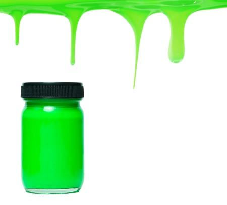 Green paint dripping with color bottle photo