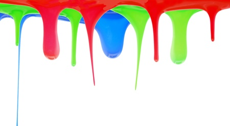 Red blue and green paint dripping photo
