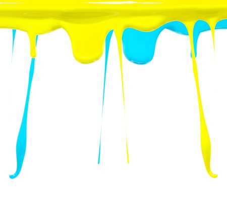 Paint dripping in yellow and aqua blue photo