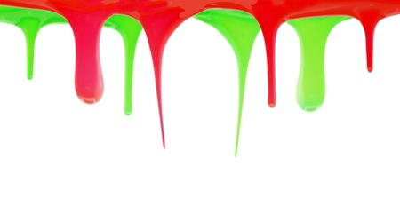 Red and green paint dripping photo