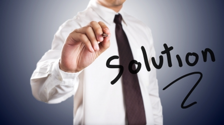 Business man drawing a solution photo