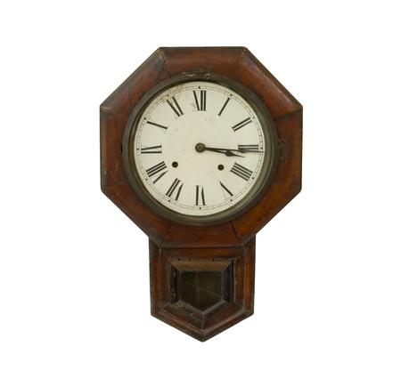 Antique clock isolated on white background Stock Photo