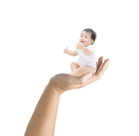 mom holding baby: Baby sit on the hand