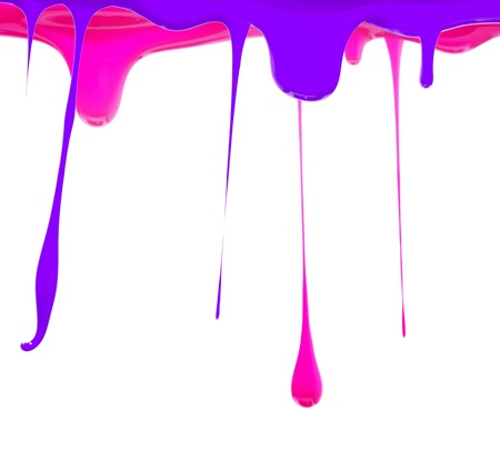 Paint dripping in purple and pink photo
