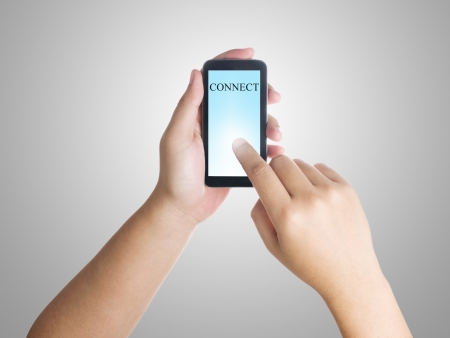mobile sms: Businessman connect to the internet by using smart phone