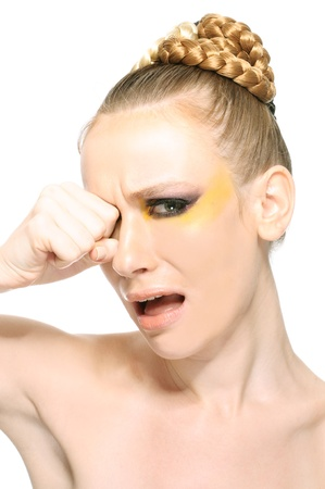 Woman crying isolate on white background photo