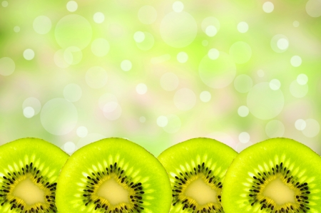 Green Kiwi with green background