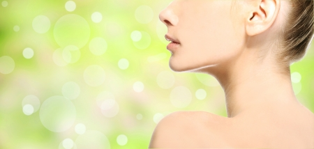 Healthy skin girl over nature green background