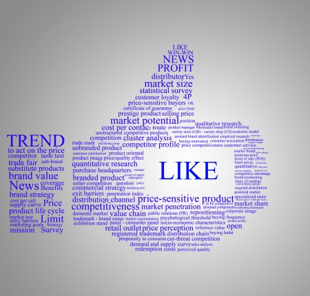 word collage: LIKE symbol, using text design in Business and Marketing concept