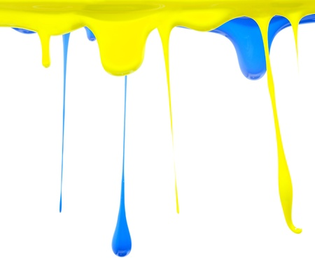 Paint dripping in blue and yellow