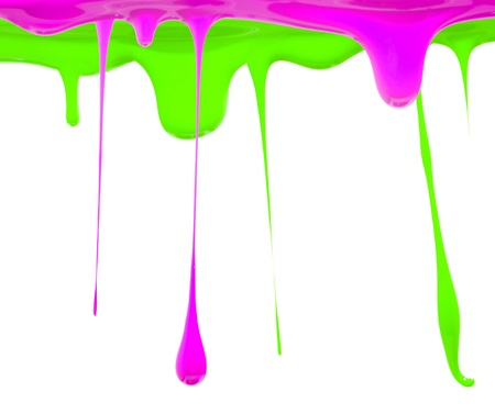 Paint dripping in green and pink