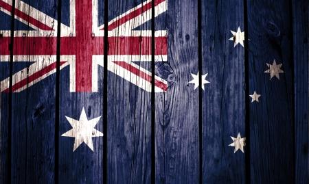 australia flag painted on old wood background