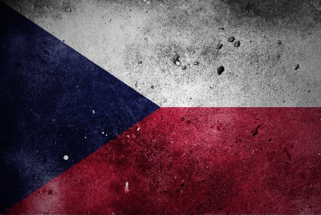 Czech Republic Flag painted on concrete wall texture