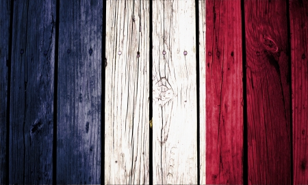 france flag painted on old wood background