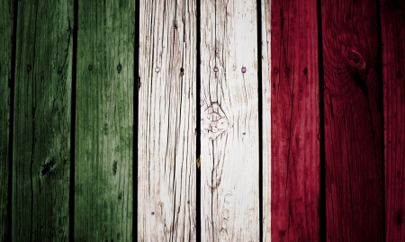 Italy flag painted on old wood background Stock Photo