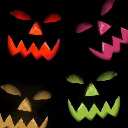 Halloween pumpkins, isolated on black background