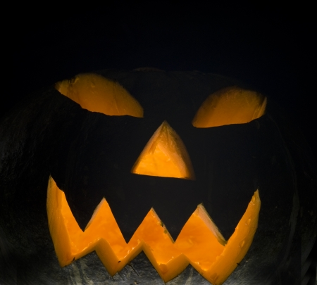 colorful lantern: Halloween pumpkin, isolated on black background